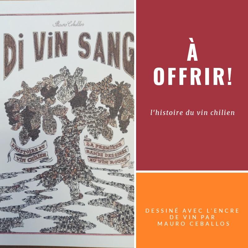 L'histoire du vin chilien dessiné avec l'encre de vin!